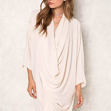 The Cape Layered Drape Tunic - Cream