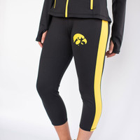 Iowa Hawkeyes NCAA Womens Yoga Pant (Black) (Small)