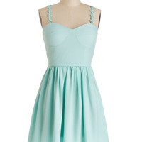 ModCloth Pastel Mid-length Spaghetti Straps A-line Clear Blue Perspective Dress
