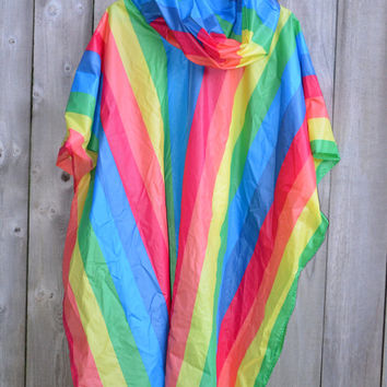 Vintage Beautiful Bright and Colorful Rainbow Rain Poncho Slicker