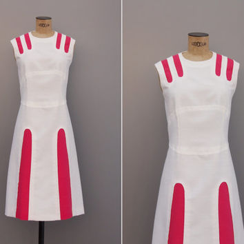 Astro Girl Dress - Vintage 1960s Mod Dress - Vintage 60s Retro Futuristic White Pink Large L A line Dress