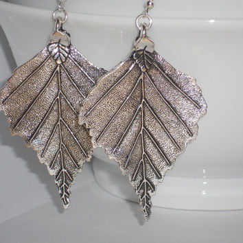 Big silver leaf earrings, nature jewelry, dangle leaf earrings, big leaf earrings