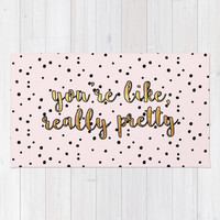 """You're Like Really Pretty"" Polka Dots Woven Rug - Pink/Black/Gold or Black/Gold"