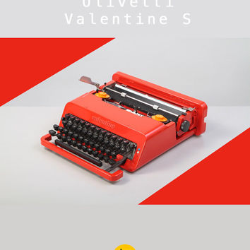 1970's Olivetti Valentine S Typewriter. Design Icon. Red. Excellent condition. Original. Ettore Sottsass. With case.