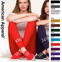 American Apparel Sorority Leggings with Embroidery | Sorority clothing and apparel from SomethingGreek.com