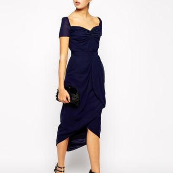VLabel London Sweetheart Midi Dress with Tulip Skirt at asos.com