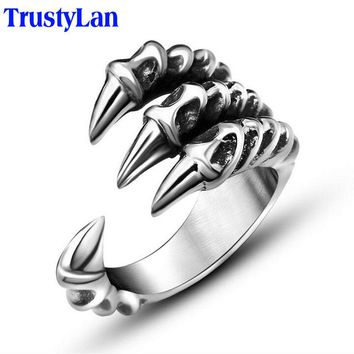 Punk Rock Stainless Steel Mens Biker Rings Dragon Claw Ring
