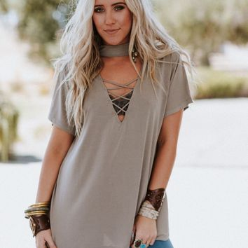 Cross Front Choker Tee - Taupe