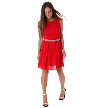 Women's Red Chiffon Skater Dress With Embellished Waist