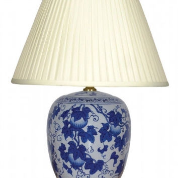 Pair of Chinese Jar Table Lamps with Shades - Blue Shi Liu