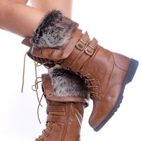 TAN CRINKLE FAUX LEATHER FAUX FUR LACE UP KNEE HIGH RIDING BOOTS