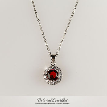 Marisa Ruby Red Round Cut Halo Pendant Necklace | 4 Carat | Cubic Zirconia