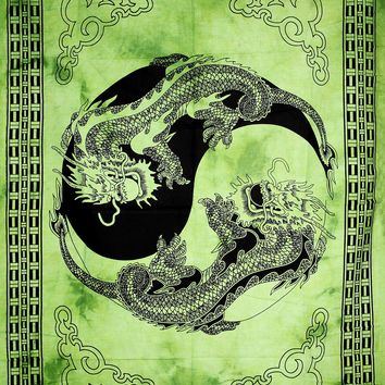 Hand printed Mini Dragon Yin & Yang Tapestries Wall Hanging