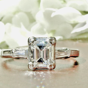 Emerald Cut Diamond Engagement Ring Vintage Bridal Jewelry Classic Elegant 14K White Gold GIA Graduate Gemologist Appraisal Included!