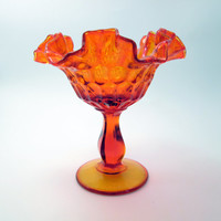 Vintage Orange Fluted and Hobnailed Glass Fenton Vase/Goblet - pressed glass candy dish - approx 1950s - Autumn/Fall Home Decor