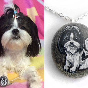 Custom Pet Portrait Necklace, Animal Painting, Hand Painted Rock, Memorial Pendant, Cat Art, Dog Jewelry, Pet Portrait, In Memory