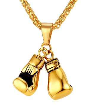Men Necklace Gold Color Stainless Steel Chain Pair Boxing Glove Pendant
