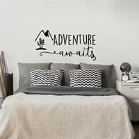 Adventure Awaits Wall Decal Stickers - Adventure Quotes Travel Theme Wall Decor - Wanderlust Wall Decal - Mountain Wall Decal Bedroom Decor