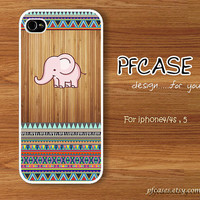 Sweet elephant on brown wood aztec pattern  : Handmade Case for Iphone 4/4s , Iphone 5