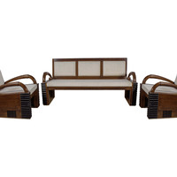 Teak Wood Handmade Art Deco Style 3 Piece Sofa Set
