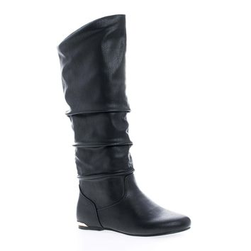 Kalisa76P Black Pu By Wild Diva, Knee High Inner Cell Phone Pouch Slouchy Boots