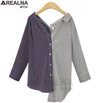 AREALNA 2018 autumn Casual women blouses long Sleeve Vintage Striped korean Blouse Shirt women tops blusas mujer plus size 5XL