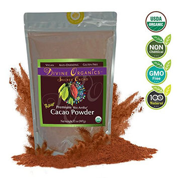 Divine Organics, 2lb / 32oz Raw Cacao Powder / Raw Cocoa Powder - Certified Organic - Premium Rio Arriba - Smoothies, Hot Chocolate, Baking, Shakes, Add to Coffee - Rich in Magnesium
