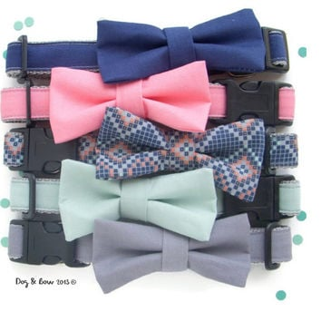Navy, Melon, Tribal, Mint, & Gray Dog Collar with Removable Bow Tie
