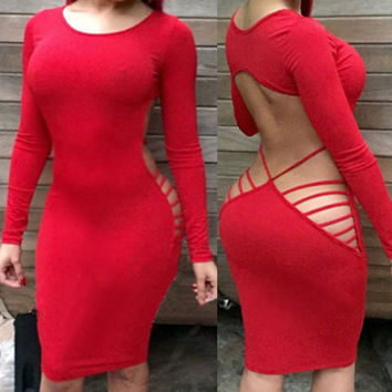 Red Long Sleeve Backless Midi Dress