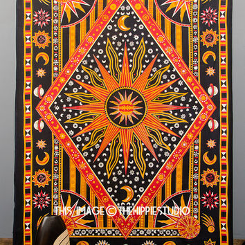 Hippie Celestial Tapestries, Sun Moon Stars Tapestries, Tapestry Wall Hanging, Indian Boho Tapestry, Bohemian Wall Tapestries, Dorm Bedding