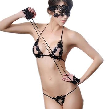 women intimates Bra & Brief Sets hot lace sexy  Mask + Hand circle + Bra Brief Sets