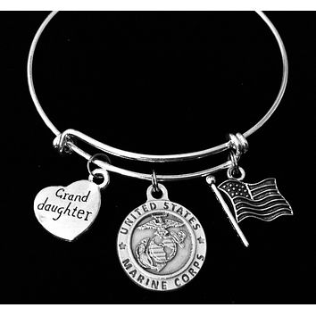 Marine Granddaughter Jewelry Expandable Charm Bracelet Silver Adjustable Bangle One Size Fits All Gift USA Military USMC Marines