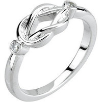 14k White Gold Diamond Knot Ring