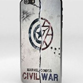 Captain America Civil War Iron Man logo Marvel Custom Case for iPhone 4 4s 5 5s 5c 6 6s 6plus 6s plus (iPhone 6/6s Black)