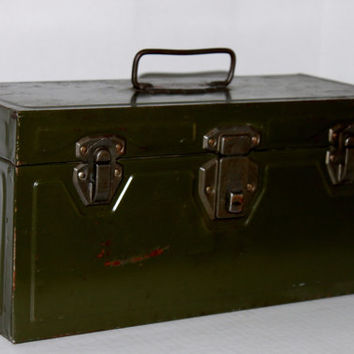 Vintage Army Green Union Utility Chest, Tool Box