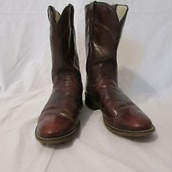 Laredo Cowboy Boots Vintage Size 8 1/2 D Men's Roper Brown Leather  Boots