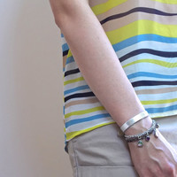 Silver Leather Bracelet, Silver Embossed Leather, Multi Chain Charm Cuff with Charm Beads and Buckle Closure