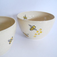 Ceramic Bowl - Large Cereal Bowl -  Handpainted Ceramics Honey Bee Design in Orange and Black