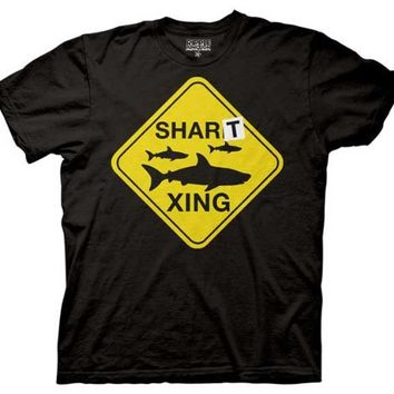 Workaholics Shart Xing Shark Crossing Sign Mens T-shirt
