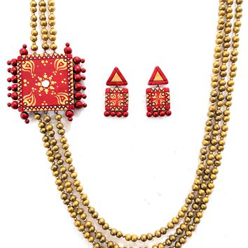 Terracotta Triple stranded square Necklace with Earring Set