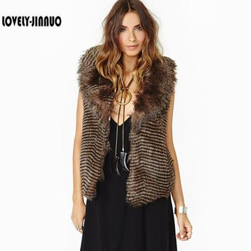 2017 New Faux Fur Vest Women Fake Fur Coat Wave Stripe Turn-down Collar Winter Warm Fur Jacket Outwear Coats Free Shipping F-637
