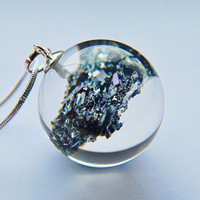 Mineral Necklace Carborundum Healing Power Earth Crystal Clear Sterling Statement Unique OOAK