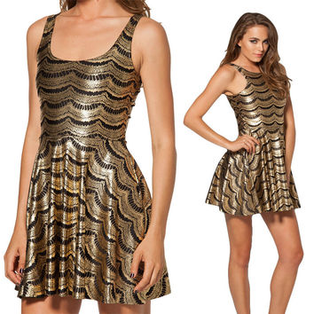 Sexy Dress 3D Printed Gold Black Wave Striped Vestidos Sleeveless Women's Clothing Above-Knee Length Club Casual Skater Dresses