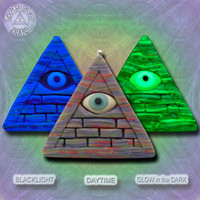 EyeGloArts Handmade Blacklight jewelry Large Creepy Cute Illuminati Pyramid purple gray Glow in the Dark Pendant UV wearable Art