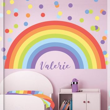 Rainbow Wall decal - Pastel Rainbow Wall Decal -  Rainbow wall sticker - Pastel Polka dot - Nursery Wall decal