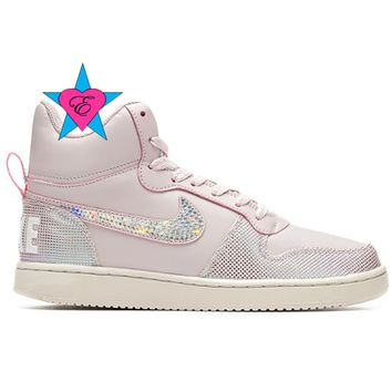 Bling Pink Women's Nike Court Borough Mid SE Basketball Shoes