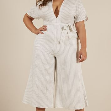 Future Feels Jumpsuit in white stripe Produced By SHOWPO
