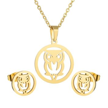 Gold Silver Animal Owl Charm Pendant and Earrings for Women Stainless Steel Round Hollow Out Lucky Owl Jewelry Sets Wholesale