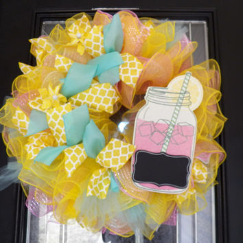 Spring Wreath, Summer Wreath, Deco Mesh Wreath, Yellow Wreath, Ready to Ship