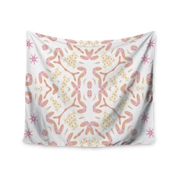 "Alison Coxon ""Aztec Feather"" Coral White Wall Tapestry"